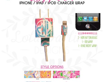 Lilly Pulitzer Inspired iPhone / iPad / iPod Charger Wrap with <<BONUS>>