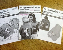 3 x Snoopy Sweater Design + Dog Knit Hat / Toque & Gloves - Children's Sizes (2 - 4 - 6 - 8 Years) - Vintage Mary Maxim Knitting Patterns