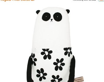 ON SALE 25% OFF Toy Panda, One of a Kind Art Doll, Panda Plush Doll with Black and White Daisy Dress, Stuffed Toy Animal, Teddy Bear, Kids T