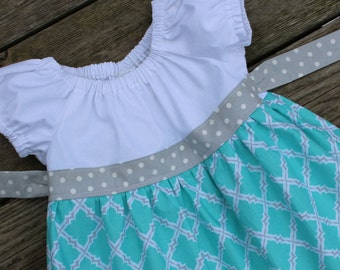 Girl's Toddlers Mint and Gray Lattice Ruffle Peasant Dress