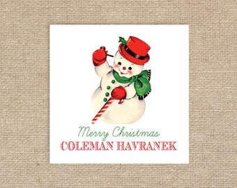 Digital Personalized Snowman Gift Tags