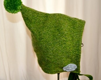 18mons-3T Green Pixie Toddler Baby Hat Upcycled Felted Wool green snowflakes flannel lined READY TO GO