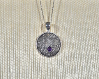 Handmade Asian Medallion Fine Silver Pendant with Genuine Amethyst