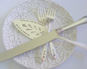 Wedding Cake Server Fork and Knife Set Hand Stamped Cake Server And Knife Set