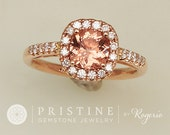 SOLD Padparadscha Color Spinel Rose Gold Engagement Ring Diamond Halo Gemstone Engagement Ring Sapphire Alternative Wedding Ring