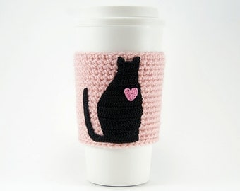 Coffee cozy, cup sleeve, I love my cat, black cat coffee cozy, pink sleeve, pink heart, Valentines day gift for her, valentine, mothers day