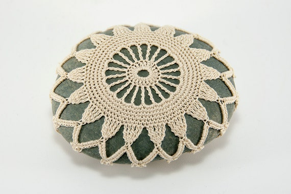 crochet covered rock, crochet lace stone, beach wedding decor, table decor, ecru thread, bowl element, paperweight, fiber art object