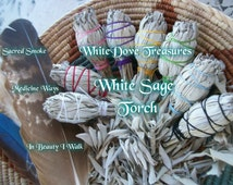 "SACRED SMOKE WHITE Sage Smudge Stick Torch 4.5"" Gift Wrap Choice Color Instructions 1-Bulk Organic Herb Clear Negativity Aura Home Reiki"