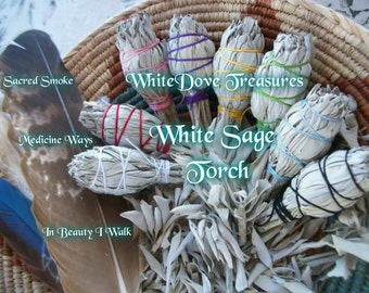 "SACRED SMOKE WHITE Sage Smudge Stick Torch 4.5"" Gift Wrap Choice Color Instructions 1-24Bulk Organic Herb Clear Negativity Aura Home Reiki"