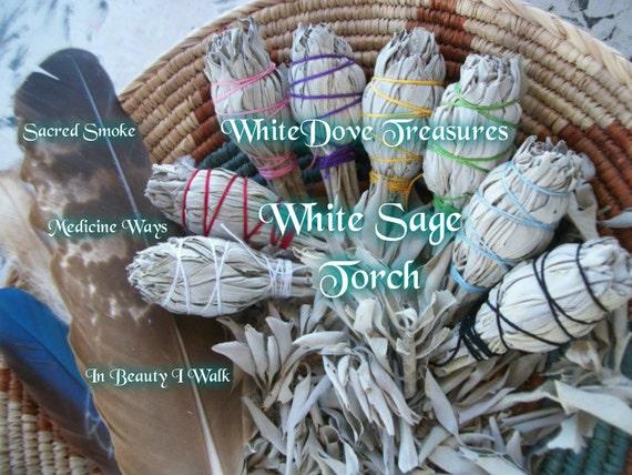 "SACRED SMOKE WHITE Sage Smudge Stick Torch 4.5"" Gift Wrap Choice Color Instructions 1-Bulk Organic Herb Clear Negativity Aura Home Reiki"