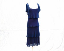 Antique late 20s early 30s art deco evening dress - blue chiffon tiered long dress -small