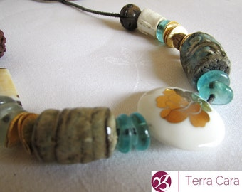 Talisman Totem Handmade Artisan Ceramic Bead Necklace with hibiscus flower