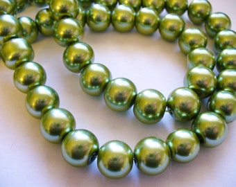 Glass Pearls Olive Green 10mm