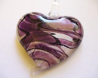 Pendant  Lampwork Glass Heart Purple 50x43MM