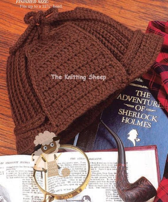Crochet Deerstalker Hat Pattern : PDF Crochet Pattern for Retro Sherlock Holmes Deerstalker Hat