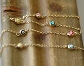 SALE - Evil Eye, Multi color Evil Eye Necklace, Enamel Evil Eye, Gift for her, Short necklace, Good luck charm