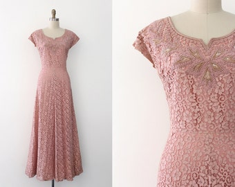 vintage 1940s gown // 40s pink lace evening gown