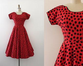 vintage 1950s Jonathan Logan dress // 50s red evening dress