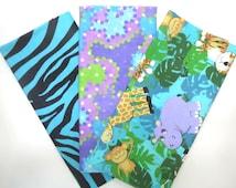 3 Pack of Cotton Flannel Fat Quarters in Jungle Animals, Aqua Camo and Zebra Prints