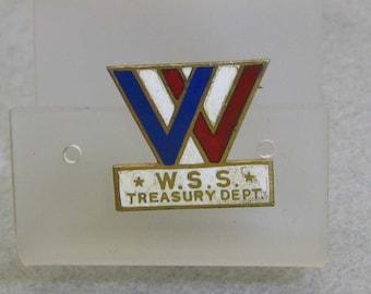 Sterling Silver Enamel WWII War Savings Stamps Pin