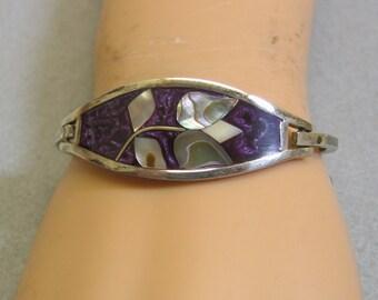 Mexican Abalone Shell Tulip Design, Violet Enamel Hinged Bangle Bracelet