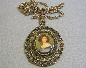 Portrait Pendant Necklace, 1970s, Vintage