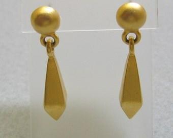 Dangle Pierced Earrings, Matte Gold, Vintage,