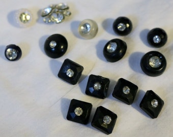 Rhinestone Vintage Buttons Assorted Lot 15 buttons Black