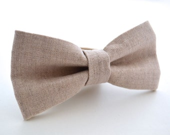 Mens Bowtie in Neutral Linen, Oatmeal Linen Bow Tie, Beige Bow Tie, Groomsmen Bow Tie, Wedding Bowties, Rustic Wedding