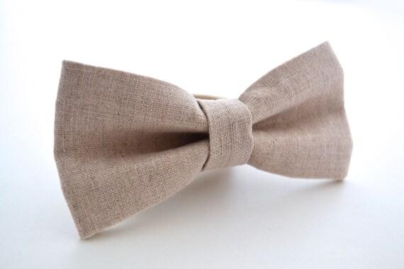 Mens Bowtie in Neutral Linen, Oatmeal Linen Bow Tie, Beige Bow Tie, Groomsmen Bow Tie, Wedding Bowties, Rustic Wedding