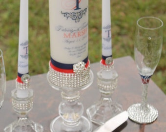 Patriotic /Military /4th of July Wedding Set.....includes, Unity candle set, Monogram Flutes  and cake server set