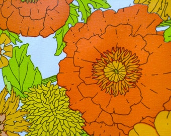 Groovy Flower Power Wallpaper Roll.  Eye Popping Colors.   Mid century Kitsch.   Yellow, Orange, Green.  Too Damn Groovy.