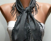 Gray Pashmina Scarf, Winter Scarf,Cowl Scarf,Necklace,Bridesmaid Gift,Gift Ideas For Her,Women Fashion Accessories,Christmas Gift