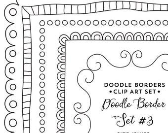 Square Doodled Digital Frames, Commercial Use Clip Art, Instant Digital Download