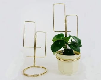 2 Vintage Golden Metal Plant Pot Wall Hanger