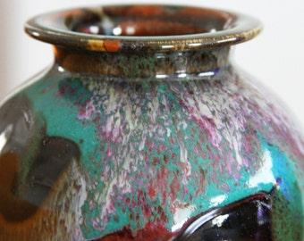 Vintage Studio Pottery Vase in Turquoise Teal Purple Pink - Vintage Handmade Art Pottery Vase with Flowing Glaze