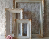 Vintage Gold and White Picture Frames, Antique Frames, Shabby Cottage, Set of frames, French Provincial, Wedding Frames, Mantel and Wall Art
