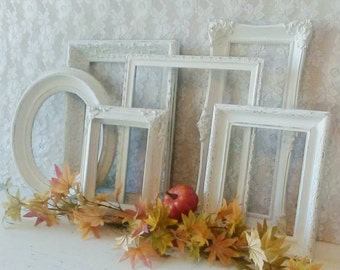 Picture Frames, Antique Open Frame set, Vintage Frame grouping, White Frames, Cottage Chic, French Farmhouse, Painted frames, Wall gallery