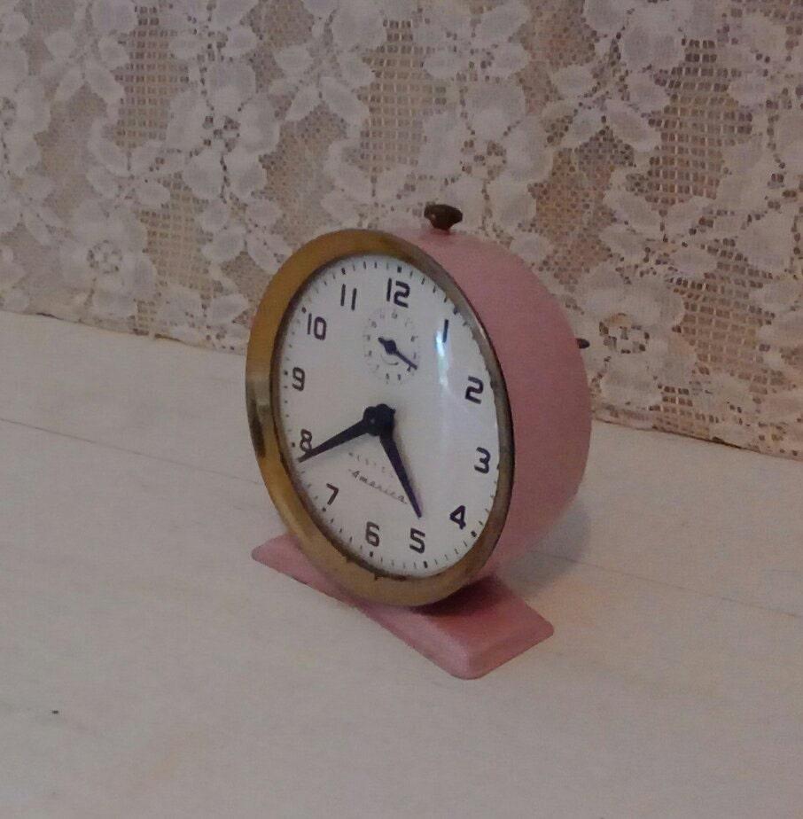 Pink Vintage Alarm Clock Westclox America Nightstand Clock