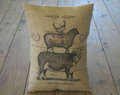 Animal Stack Burlap Pillow, Farmhouse Pillows, French Country, Shabby Chic, INSERT INCLUDED