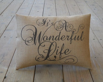 Wonderful Life Burlap Pillow, Christmas, It's a Wonderful Life, INSERT INCLUDED