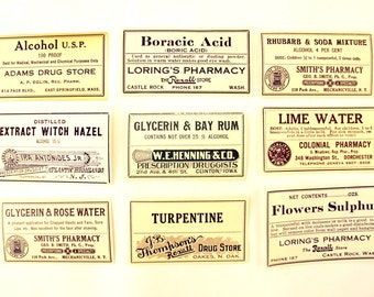 Antique Medicine Apothecary Pharmacy Labels in Blue and White, Set of 9 (c.1890s) N1 - Paper Crafts, Altered Art, and more