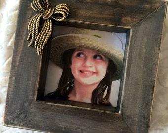 Picture Frame with Bow Baby Girl Jewel Wood Block Customize Home Decor