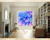 Free Spirit Tie Dyed Serenity Blue Rose Quartz Extra Large Painting 48 x 48 Acrylic Canvas Aqua Trend Trendy Floral Modern Made to Order Art