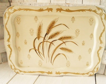 Vintage metal tray large ivory golden wheat lipped Cottage Shabby Chic