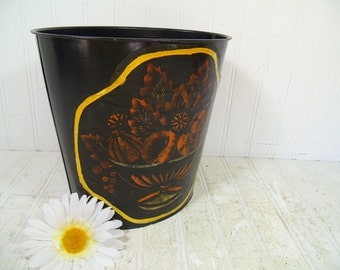 Vintage Black Paint Treatment Over Old Toleware Metal Oval Waste Can - Hand Stenciled Art Trash Basket - Folkart Painted Upcycled Black Bin