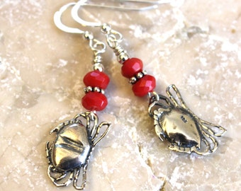 Red Coral & Sterling Silver Crab Earrings, Summer Earrings, Beach Jewelry, Handcrafted, Handmade, Artisan, Jewellery, Crab Jewelry, Unique