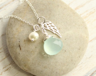 Sterling Silver Angel Wing Birthstone Pearl Necklace -- You Choose The Stone