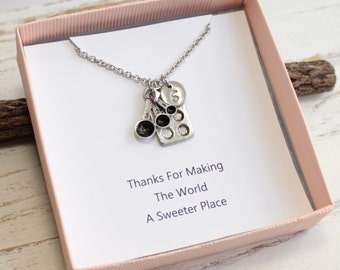Silver Baking Necklace With Gift Card and Your Choice of Initial and Birthstone