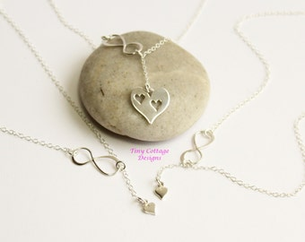 Sterling Silver Infinity Mother and Two Daughter Cut Out Heart Necklace Set... Includes Three Pieces